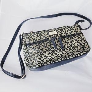 Tommy Hilfiger black and tan crossbody purse